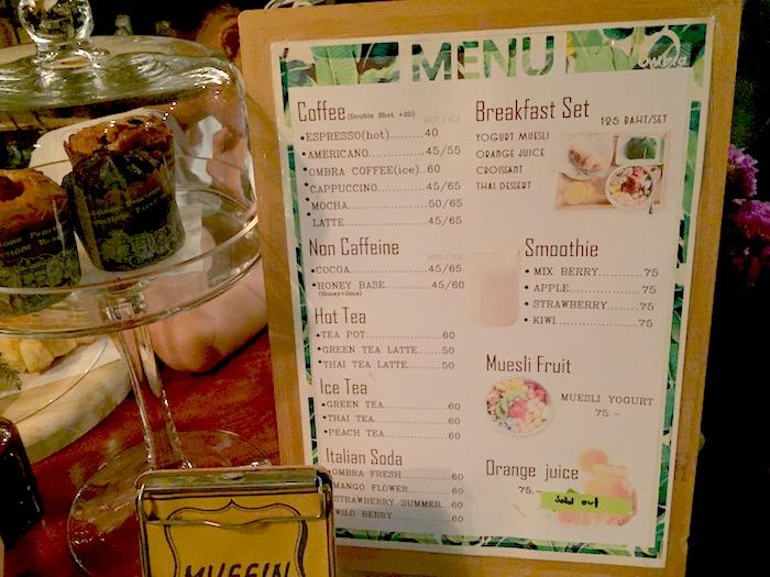 Ombra Caffeメニュー