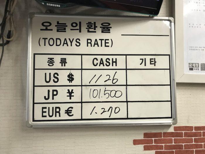 ミウ両替の両替レート