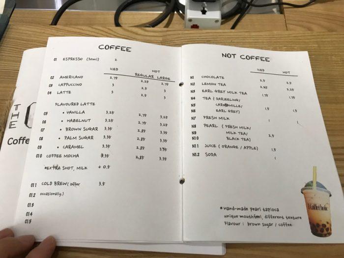 The Coffeeholicのメニュー