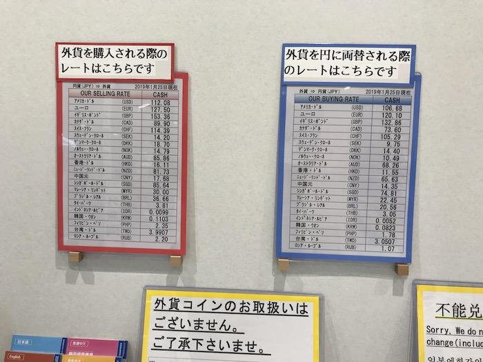 日本の空港の両替レート(KIX)