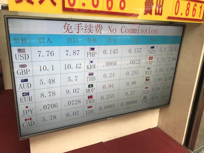 香港市内の両替所の両替レート