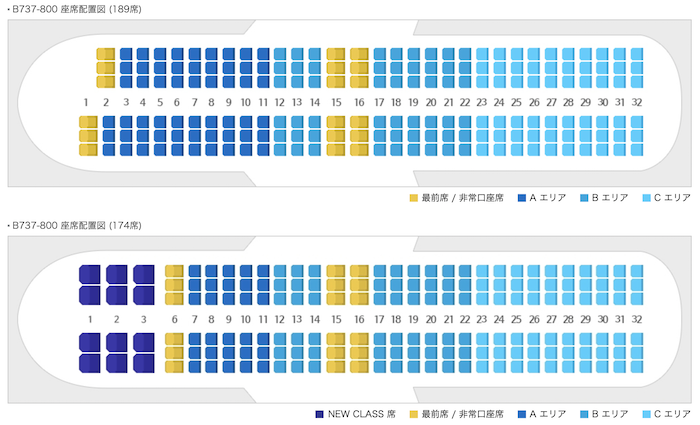 チェジュ航空座席指定区分
