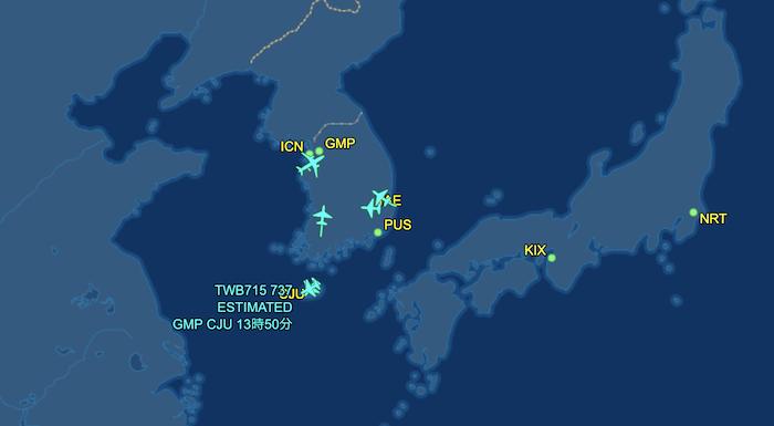 ティーウェイ航空の運行状況