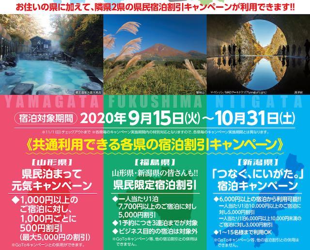 山形、福島、新潟3県連携「県民宿泊割引共通利用キャンペーン」