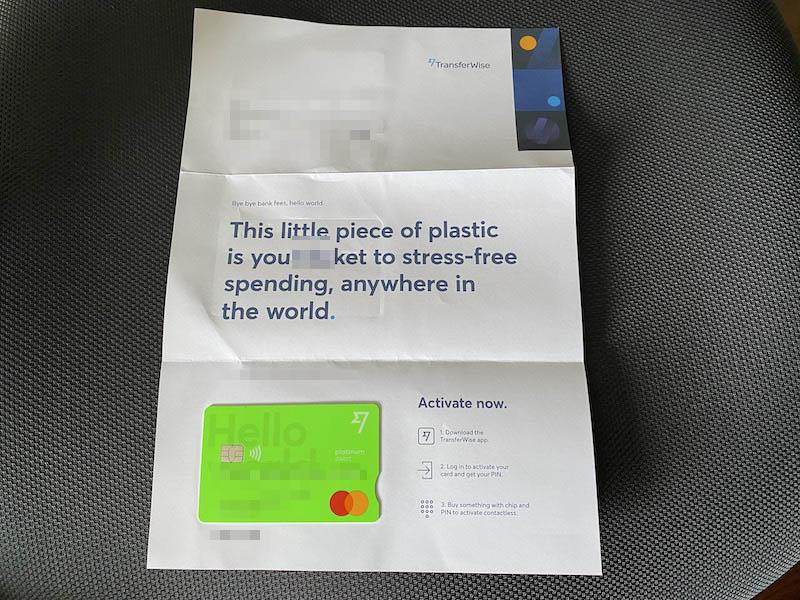 TransferWiseのデビットカード開封結果