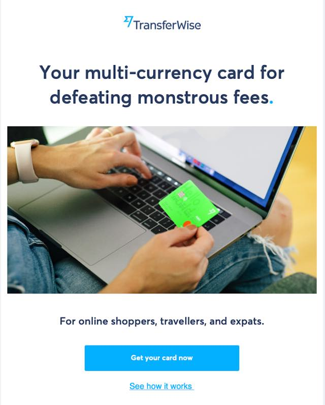 TransferWiseデビットカードの案内メール
