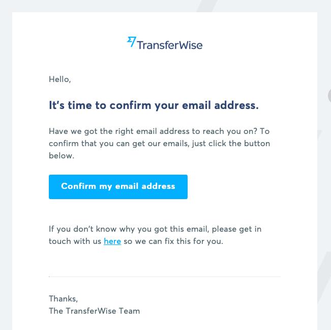 transferwiseメール認証